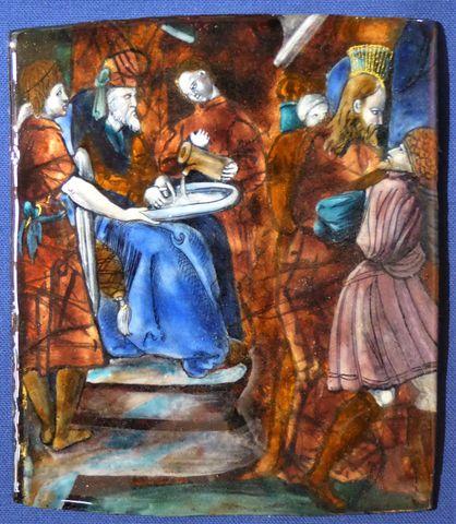 Plaque en émail peint polychrome représentant le Christ devant Pi...