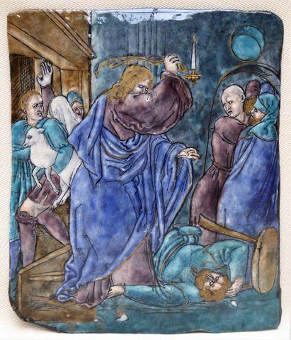 Plaque en émail polychrome sur cuivre représentant Jésus chassant...