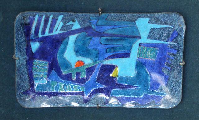 Georges MAGADOUX (1909-1983)  Abstraction  Plat émaillé sur cuivr...