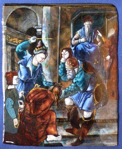 Plaque en émail peint polychrome représentant la flagellation du ...