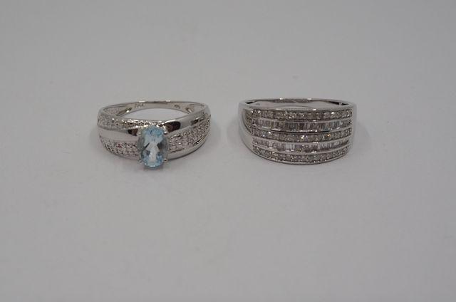 Lot de deux bagues or blanc, diamants et aigue-marine Pds 7 grs