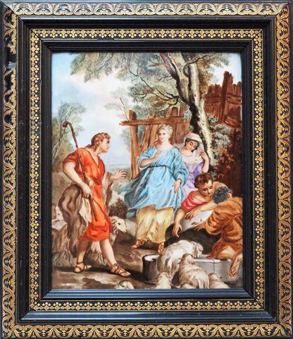 Plaque de porcelaine peinte représentant une scène de l'Ancien Te...
