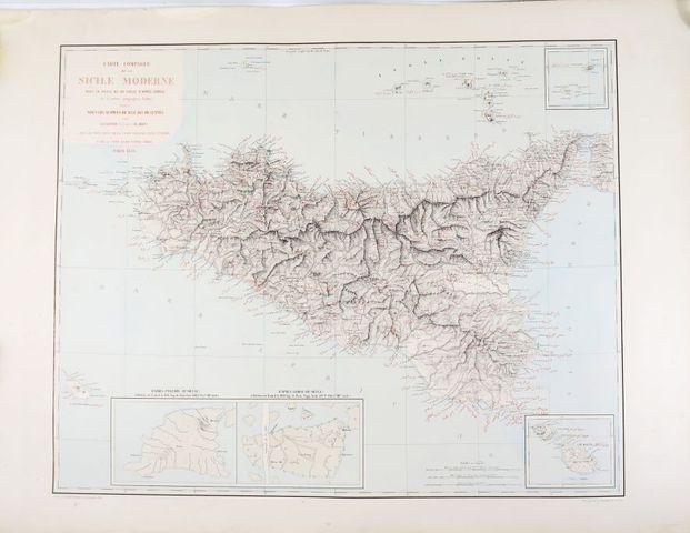 Sicile - AMARI (Michele) & DUFOUR (Auguste Henri). Carte comparée...