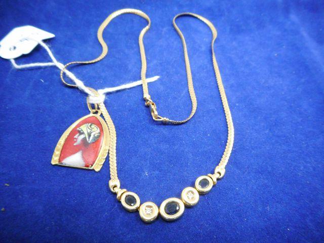 Collier or et pierres bleues et brillants avec pendentif émail 9,...
