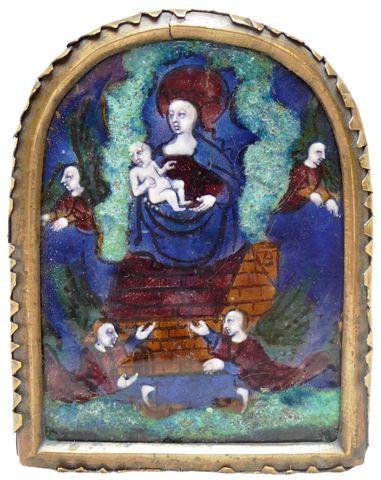 Baiser de Paix en émail peint polychrome avec rehauts d'or représ...