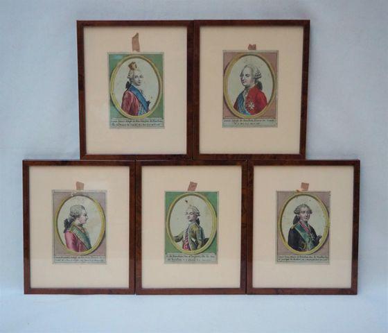 Suite de 5 gravures réhaussées représentant des portraits de Loui...
