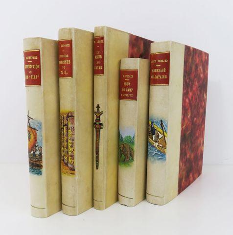 Lot. Bel ensemble de 5 volumes in-8 demi-vélin, pièce de titre en...