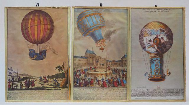 Lot de 3 reproductions de gravures représentant des machines aéro...