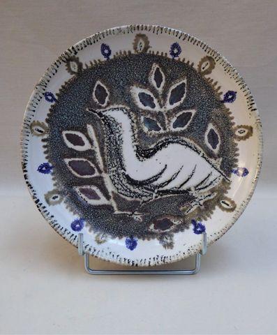 Jean-Jacques PROLONGEAU (1917-1994) Assiette en terre cuite glaçu...