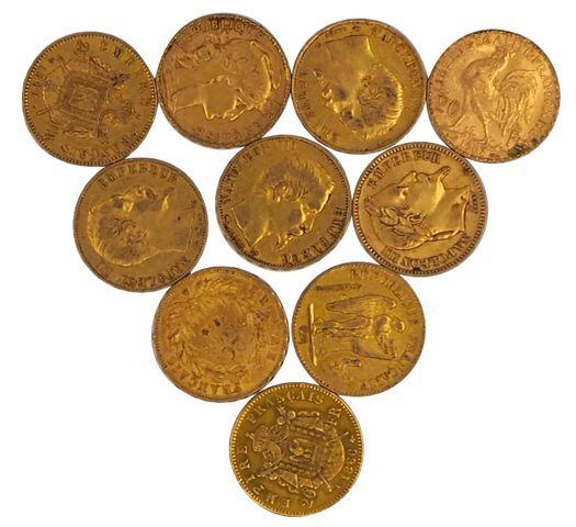 Lot de dix pièces de 20 francs or
