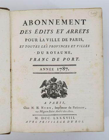 [Arrêts]. Abonnement des édits et arrest pour la ville de Paris, ...
