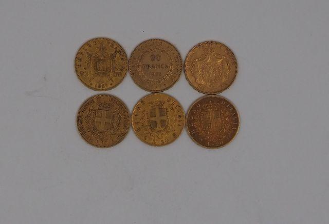 Lot de six pièces or comprenant deux pièces de 20 francs or, troi...