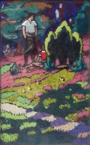 Léon JOUHAUD (1874-1950) Couple dans les bois Email sur cuivre mo...