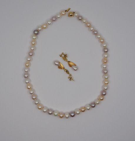 Collier perles et boucles d'oreilles perles et or