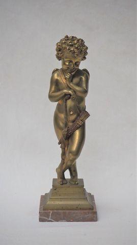 Alfred Louis HABERT (1824-1893) Cupidon Bronze doré, Inscription ...
