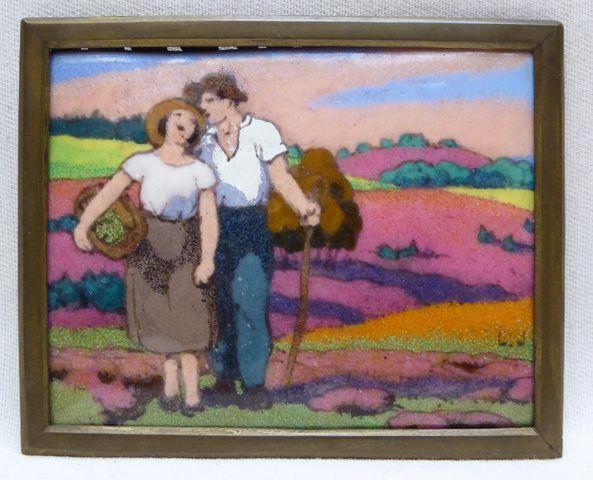 Léon JOUHAUD (1874-1950) Couple dans les champs Email sur cuivre ...