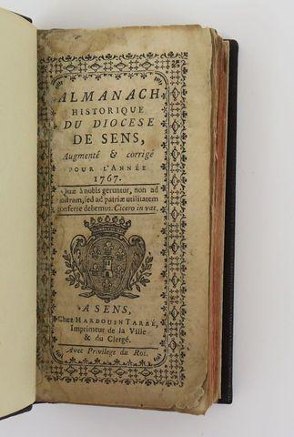 Bourgogne. Almanach historique du diocèse de Sens pour l'année 17...