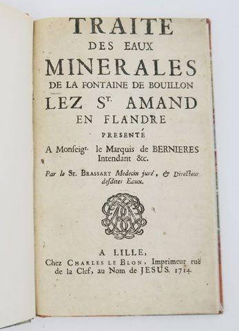 Flandre - BRASSART (Jean-Joseph). Traité des eaux minérales de la...