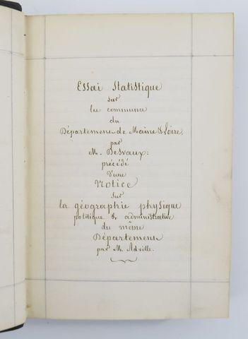 Maine-et-Loire - Manuscrit - DESVAUX (Auguste-Nicaise). Essai sta...