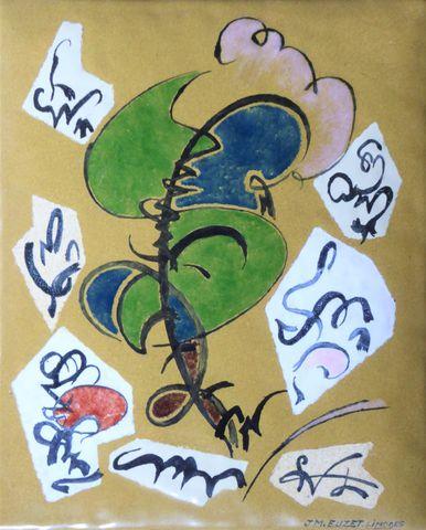 Jean-Marie EUZET (1905-1980)  Composition  Email sur cuivre signé...