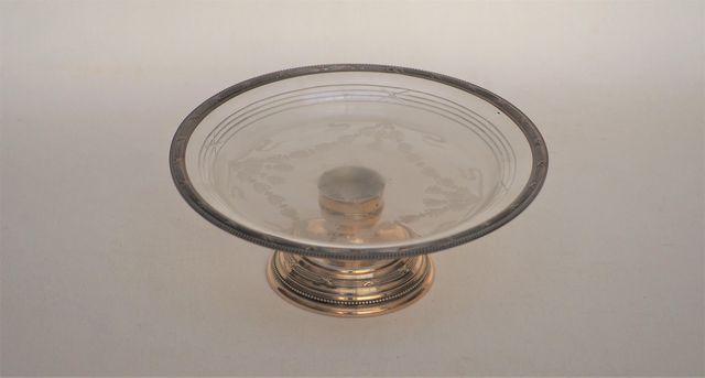 Coupelle en verre gravé et argent massif poinçon Minerve H. 8 cm ...