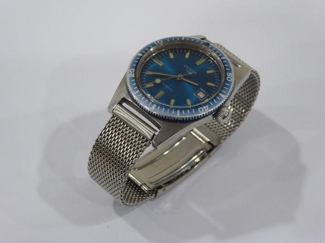 GUILDE Montre bracelet homme de plongée, fond bleu, bracelet mail...