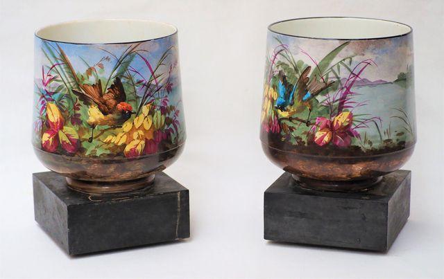 Paire de cache-pots en porcelaine polychrome à décor d'oiseaux da...