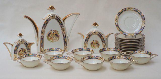 LIMOGES VOISIN Partie de service à café en porcelaine polychrome ...