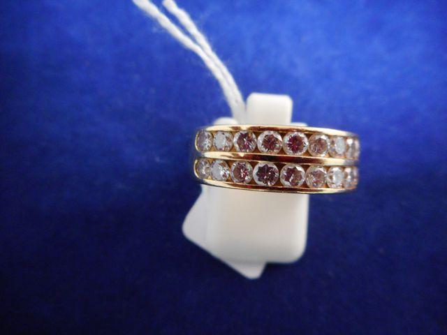 Bague or et 24 diamants d'env. 0,05ct chacun 8,9g. Tdd 55