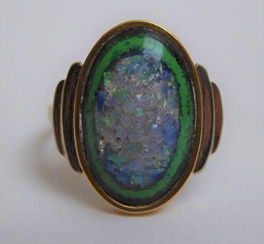 Bague or sertie pierres couleur bleu vert Pds 4 grs