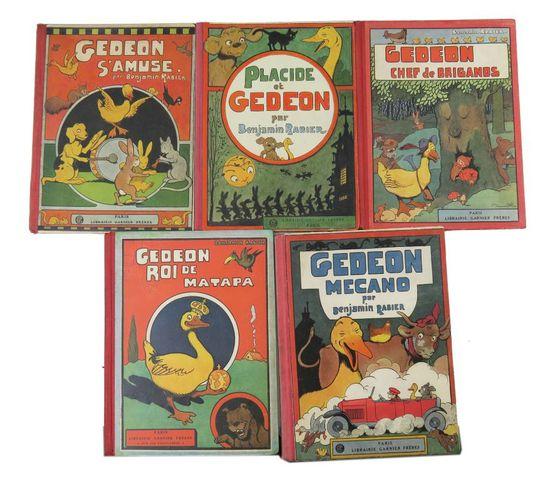 RABIER (Benjamin). Ensemble de 5 albums de Gédéon le canard, Garn...