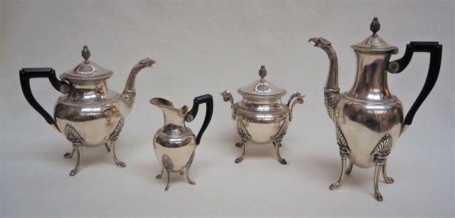 Service à thé/café en argent massif poinçon Minerve comprenant de...