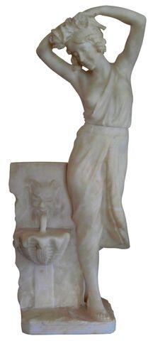 Ecole Italienne XXe siècle Femme à la fontaine Albâtre H. 51 cm