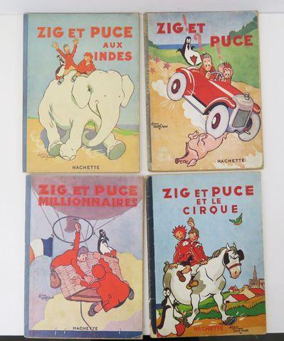 SAINT-OGAN (Alain). 4 albums de Zig et Puce, cartonnage souple il...