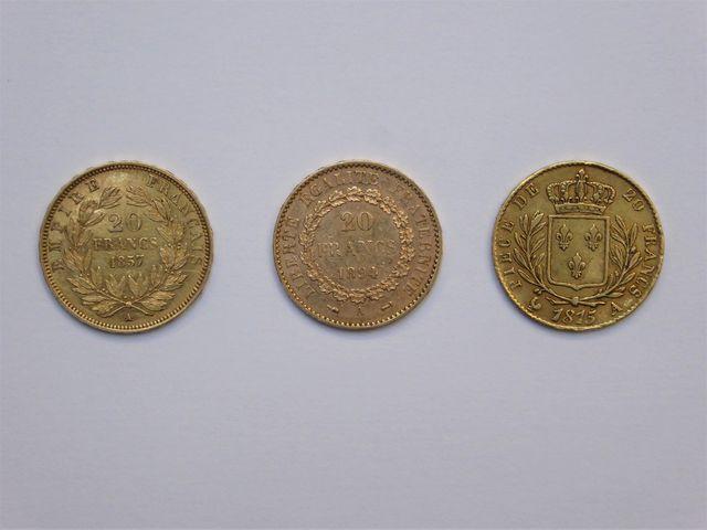 Lot de 3 pièces or jaune comprenant : 20 francs 1894 20 francs 18...