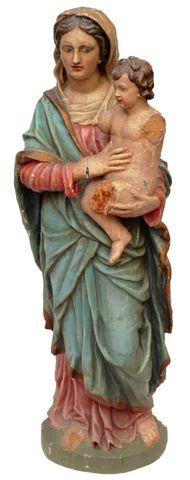 Vierge à l'enfant en bois polychrome sculpté en ronde-bosse Trava...