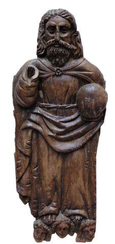 Bois sculpté représentant Dieu le Père, debout sur des angelots, ...