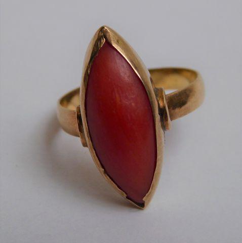 Bague or sertie pierre couleur orange Pds 4 grs