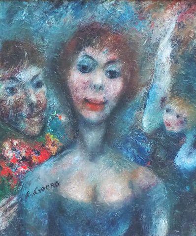 Edouard GOERG (1893-1969) L'ange gardien 1962 Huile sur toile sig...