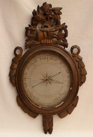 Baromètre en bois redoré Epoque Fin XVIIIe-Début XIXe siècle H.88...