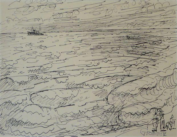 Marcel GROMAIRE (1892-1971) Bateau sur le mer Encre de Chine sur ...