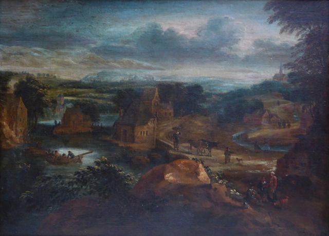 Attribué à Jean-Baptiste HUYSMANS (1654-1716) Paysage animé Huile...