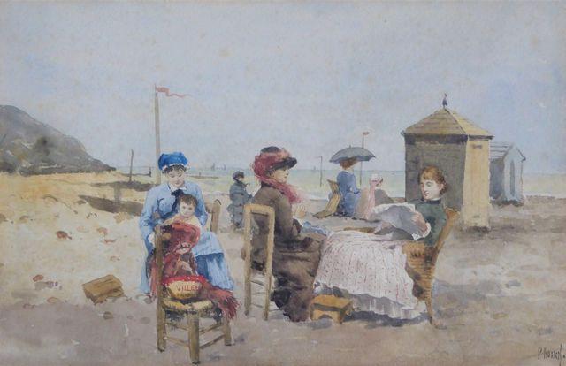 Paul ROSSERT (1851-1918) Lecture sur la plage Aquarelle sur papie...