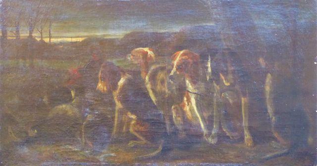 Ecole FRANCAISE XIXème siècle Meute de chiens de chasse Huile sur...