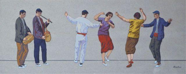Louis FLOUTIER (1882-1936) Les danseurs basques Pochoir rehaussé ...