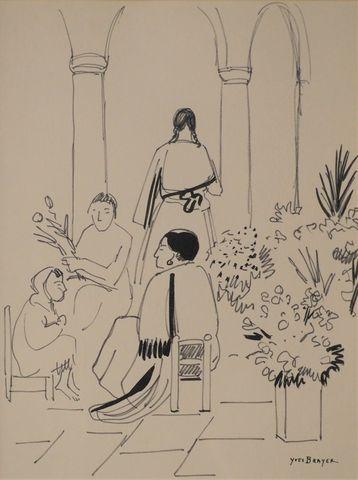 Yves BRAYER (1907-1990) Marché aux fleurs au Mexique Dessin à l'e...