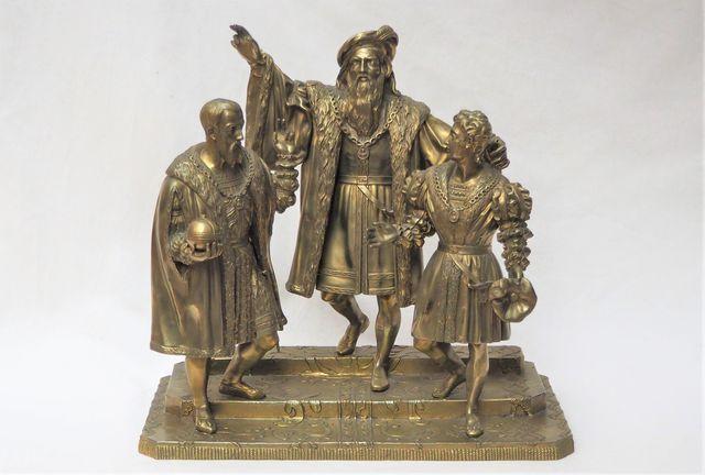 Groupe en bronze doré représentant un seigneur et ses émissaires ...