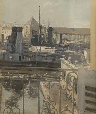 Dimitri BOUCHENE (1893-1993) Toulon 1930 Gouache sur papier SBD  ...