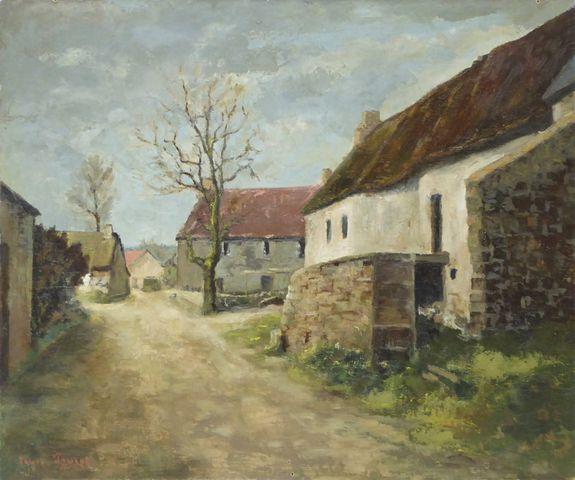 Louis PEYRAT (1911-1999) Vue de village Huile sur toile signée en...