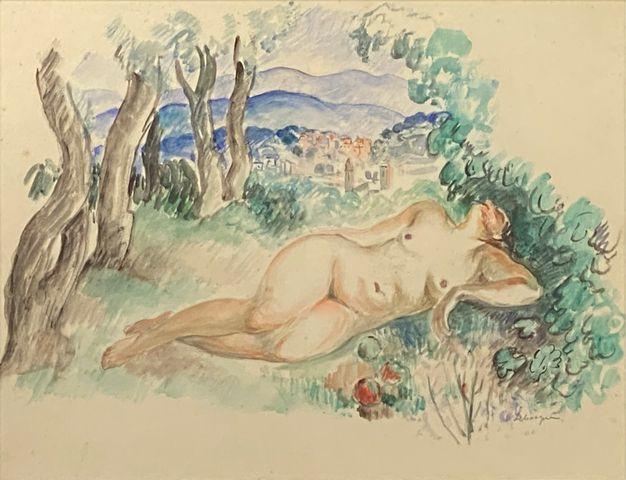 Henri Baptiste LEBASQUE (1865-1937) Nu allongé  Aquarelle sur pap...